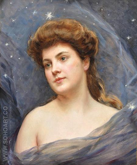 Portrait of Woman With Blue Titles - Jose De Madrazo Y Agudo reproduction oil painting