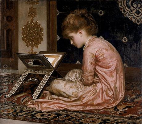 Study at Reading Desk 1877 - Frederick Lord Leighton reproduction oil painting