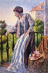 Madame Luce on the Balcony 1893 - Maximilien Luce reproduction oil painting