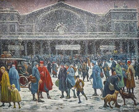 La Gare De L'Est Sous La Neige 1917 - Maximilien Luce reproduction oil painting
