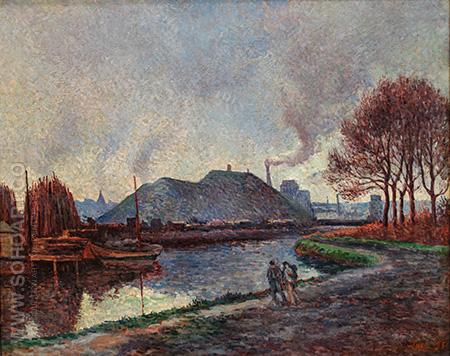 The River Sambre at Charleroi 1896 - Maximilien Luce reproduction oil painting