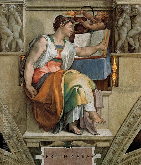 Sistine Chapel Five Sibyls The Erythraean Sibyl 1509 - Michelangelo reproduction oil painting