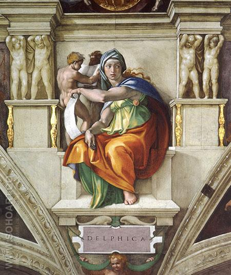 Sistine Chapel Five Sibyls The Delphic Sibyl 1509 - Michelangelo reproduction oil painting