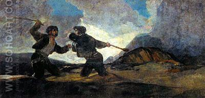 Duel with Cudgels c1820 - Francisco de Goya ya Lucientes reproduction oil painting