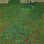 Field of Poppies - Gustav Klimt reproduction oil painting