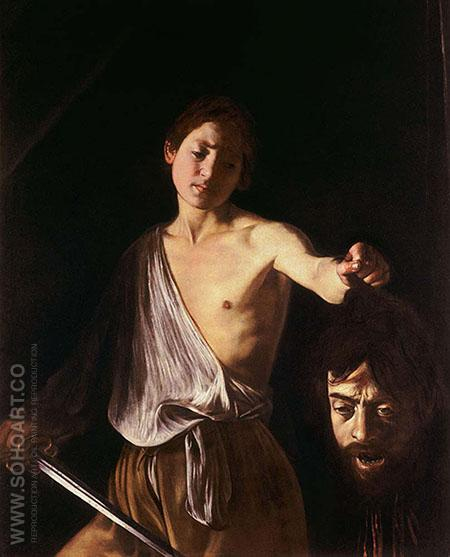 David with the Head of Goliath c1610 - Caravaggio reproduction oil painting