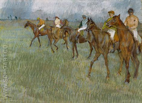 Jockeys in the Rain - Edgar Degas reproduction oil painting