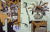 Two Heads on Gold - Jean-Michel-Basquiat reproduction oil painting