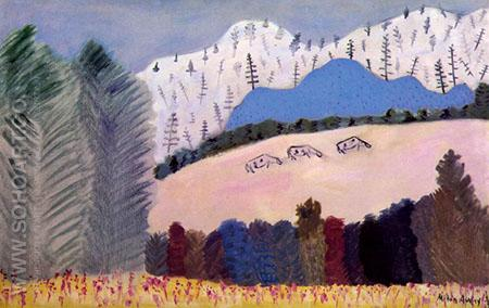 Three Cows on Hillside 1945 - Milton Avery reproduction oil painting