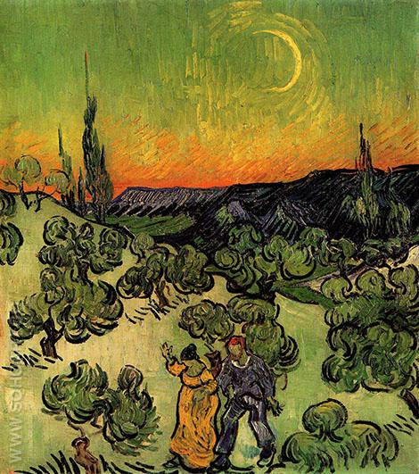Landscape with Couple Walking and Crescent Moon 1890 - Vincent van Gogh reproduction oil painting