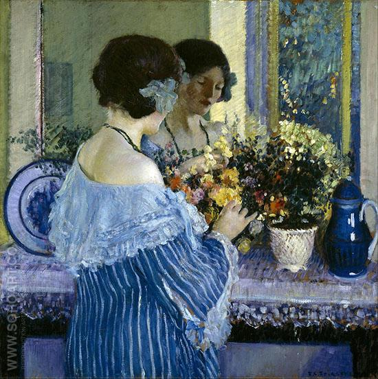 Girl in Blue Arranging Flowers 1915 - Frederick Carl Frieseke reproduction oil painting