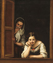 Two Women at a Window - Bartolome Esteban Murillo reproduction oil painting