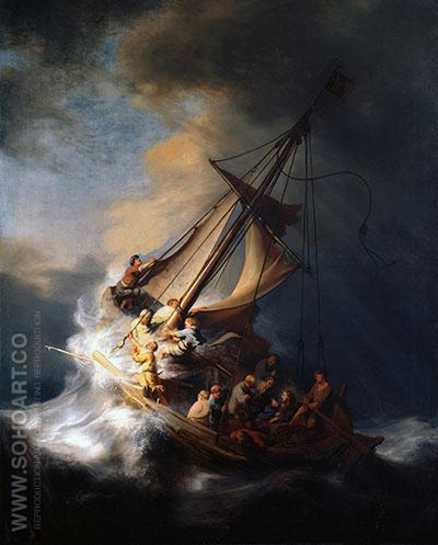 Christ in the Storm on the Lake of Galilee 1663 - Rembrandt Van Rijn reproduction oil painting