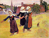Breton Dancing Girls - Paul Gauguin reproduction oil painting