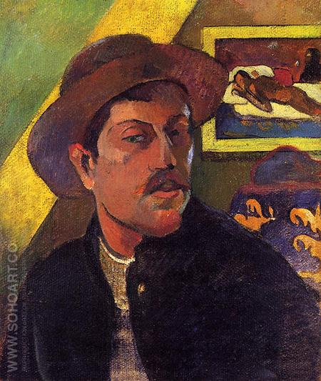 Self Portrait in Hat - Paul Gauguin reproduction oil painting