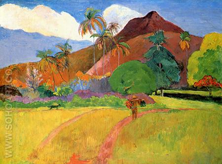Mountains in Tahiti - Paul Gauguin reproduction oil painting
