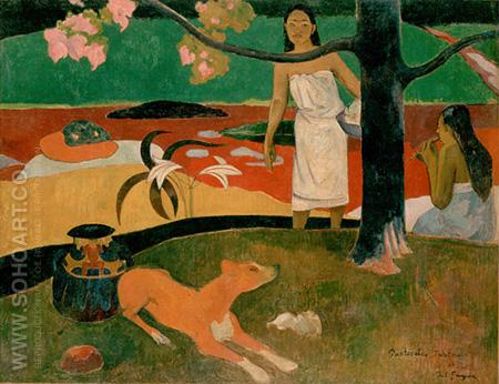 Tahitian Pastoral Scene - Paul Gauguin reproduction oil painting