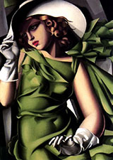 Girl in Green with gloves - Tamara de Lempicka reproduction oil painting