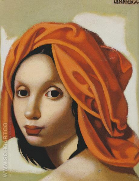 Orange Turban - Tamara de Lempicka reproduction oil painting