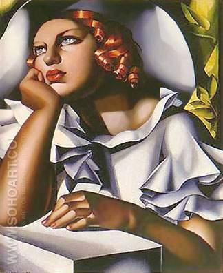 Eune Fille a la Fenetre - Tamara de Lempicka reproduction oil painting