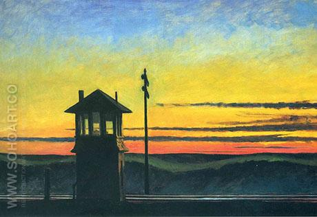 Railroad Sunset 1929 - Edward Hopper reproduction oil painting