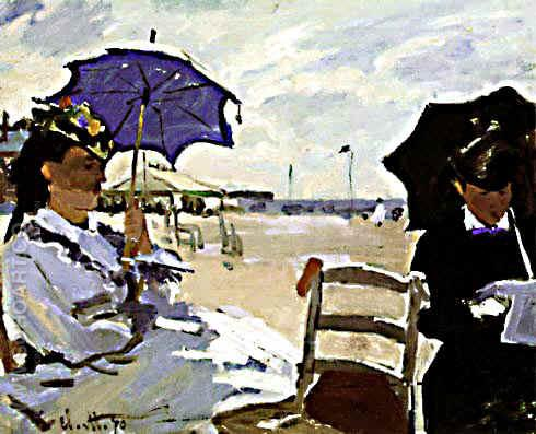 On the Beach at Trouville - Claude Monet reproduction oil painting
