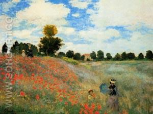 Poppy Field at Argenteuil - Claude Monet reproduction oil painting
