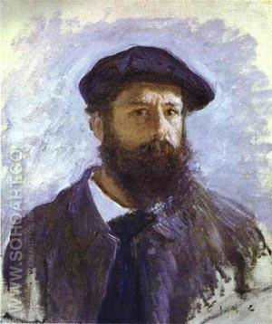 Self-portrait  Cap and Beard - Claude Monet reproduction oil painting