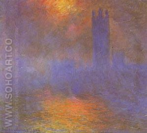 London Parliament with Sun Breaking Fog - Claude Monet reproduction oil painting