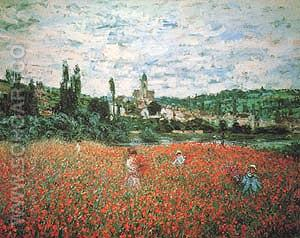 Poppy Field near Vetheuil - Claude Monet reproduction oil painting