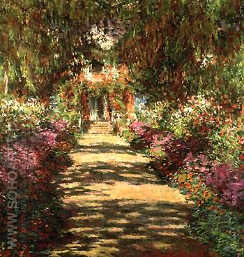 Avenue in the Artist's Garden - Claude Monet reproduction oil painting