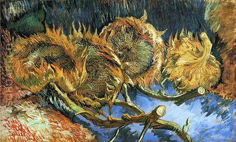 Four Cut Sunflowers 1887 - Vincent van Gogh reproduction oil painting