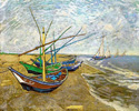 Fishing Boats on the Beach at Saintes-Maries-De-La-Mer 1888 - Vincent van Gogh reproduction oil painting