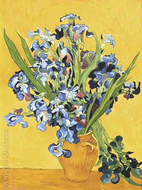 Vase with Irises (Yellow) - Vincent van Gogh reproduction oil painting