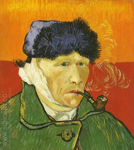 Self Portrait Ear and Pipe - Vincent van Gogh reproduction oil painting