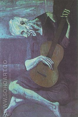 The Old Guitar Player (1903) - Pablo Picasso reproduction oil painting