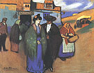 Spanish Couple in Front of an Inn (1900) - Pablo Picasso reproduction oil painting
