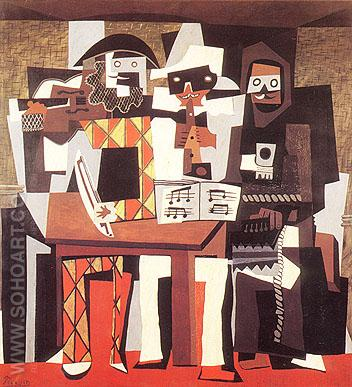 Three Musicians Wearing Masks (1921) - Pablo Picasso reproduction oil painting