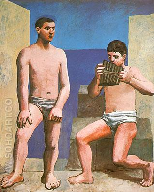 The Pipes of Pan (1923). - Pablo Picasso reproduction oil painting