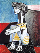 Jacqueline with Crossed Hands (1954) - Pablo Picasso reproduction oil painting
