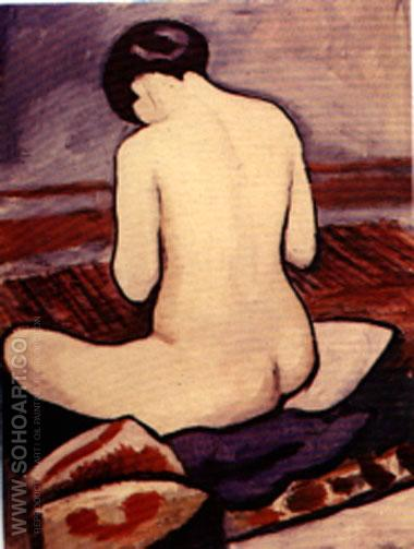 Sitting Nude (1911) - August Macke reproduction oil painting