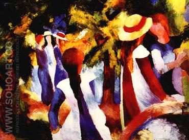 Girls Under Trees (1914) - August Macke reproduction oil painting