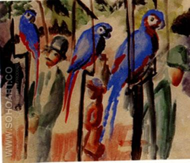 Visiting the Parrots (1914) - August Macke reproduction oil painting