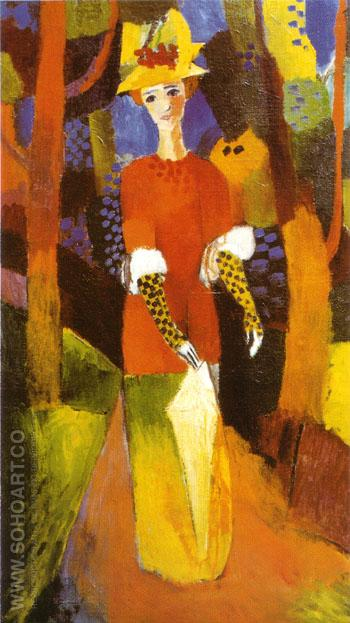 Woman in Park 1914 - August Macke reproduction oil painting