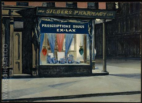 Drug Store 1927 - Edward Hopper reproduction oil painting