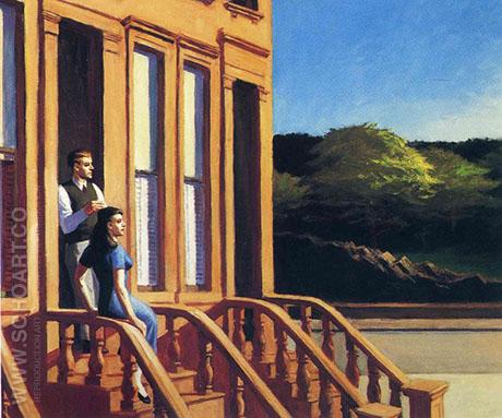 Sunlight on Brownstones 1956 - Edward Hopper reproduction oil painting
