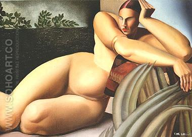 Reclining Nude 1925 - Tamara de Lempicka reproduction oil painting