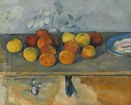 Apples & Plate of Biscuits - Paul Cezanne reproduction oil painting