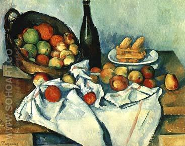 Still Life Basket of Apples - Paul Cezanne reproduction oil painting