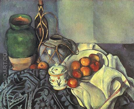 Still Life with Olive Jar - Paul Cezanne reproduction oil painting